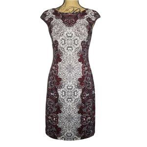 Maggy London Scuba Sheath Dress Geometric Size 4
